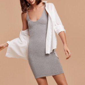 Community Parfit V Neck Ribbed Knit Dress Grey S